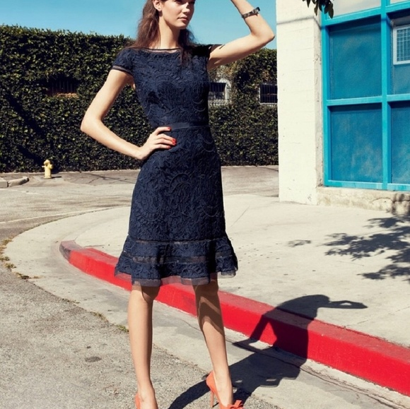 Adrianna Papell Navy Blue Lace A Line Dress